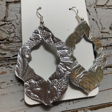 Silver Embossed Moroccan Leather Earrings