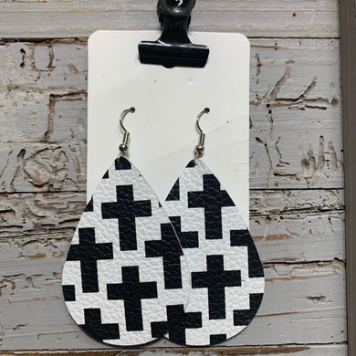Black and White Cross Teardrop Leather Earrings