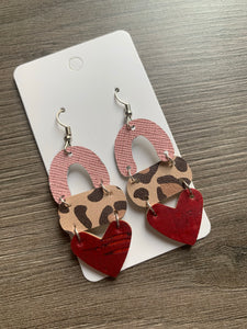 Valentine Animal Print Mix Drop Leather Earrings