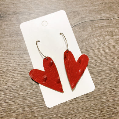 Red Heart Drop Leather Earrings