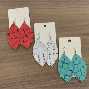 Swiss Dot Leaf Leather Earrings