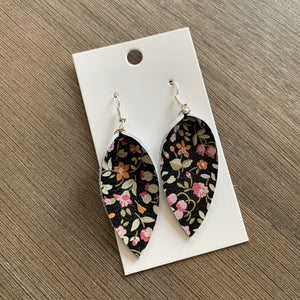 Small Black Floral Petal Leather Earrings
