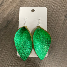 Green Petal Leather Earrings