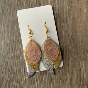 Mixed Metal Drop Leather Earrings