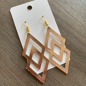 Rose Gold Mirror Double Diamond Leather Earrings