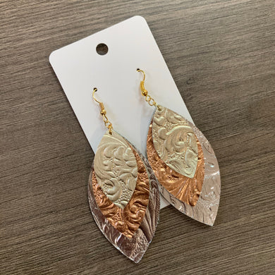 Mixed Metal Leaf Leather Earrings