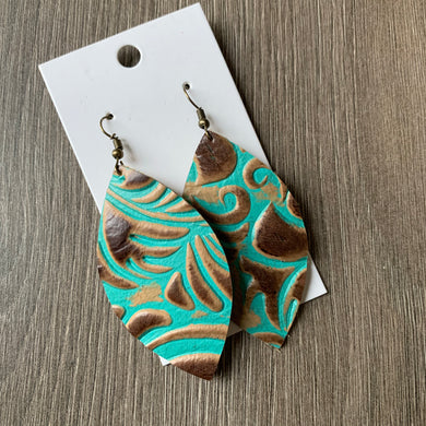 Brown and Turquoise Leaf Leather Earrings