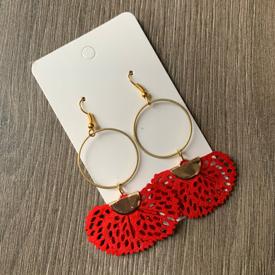Red Fabric and Brass Drop Earrings