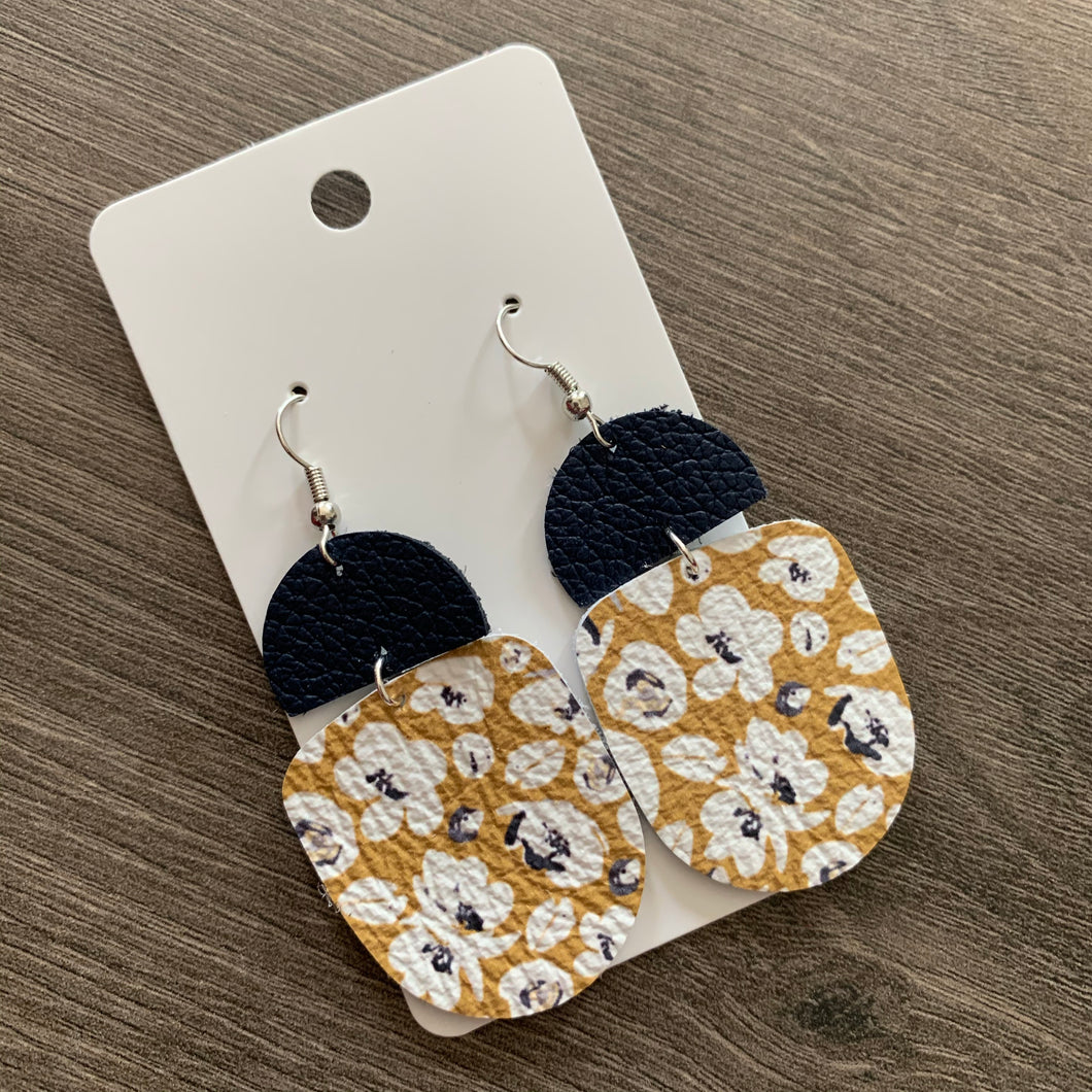 Navy Yellow Flower Drop Leather Earrings