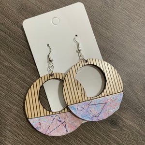 Wooden Engraved Origami Print Earrings
