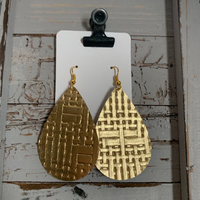 Bright Gold Weave Teardrop Leather Earrings