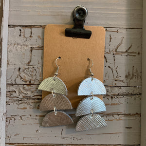 Silver Texture Dangle Leather Earrings