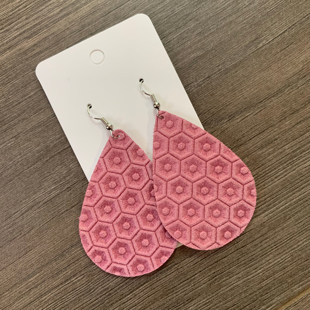 Pink Honeycomb Teardrop Leather Earrings