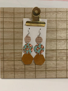 Mint and Blush Drop Leather Earrings