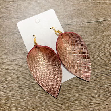 Rose Gold Textured Petal Leather Earrings