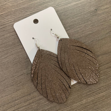 Brown Shimmer Fringe Leather Earrings