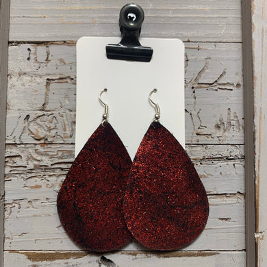 Red Shimmer Teardrop Leather Earrings