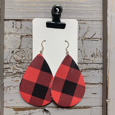 Red Buffalo Plaid Teardrop Leather Earrings