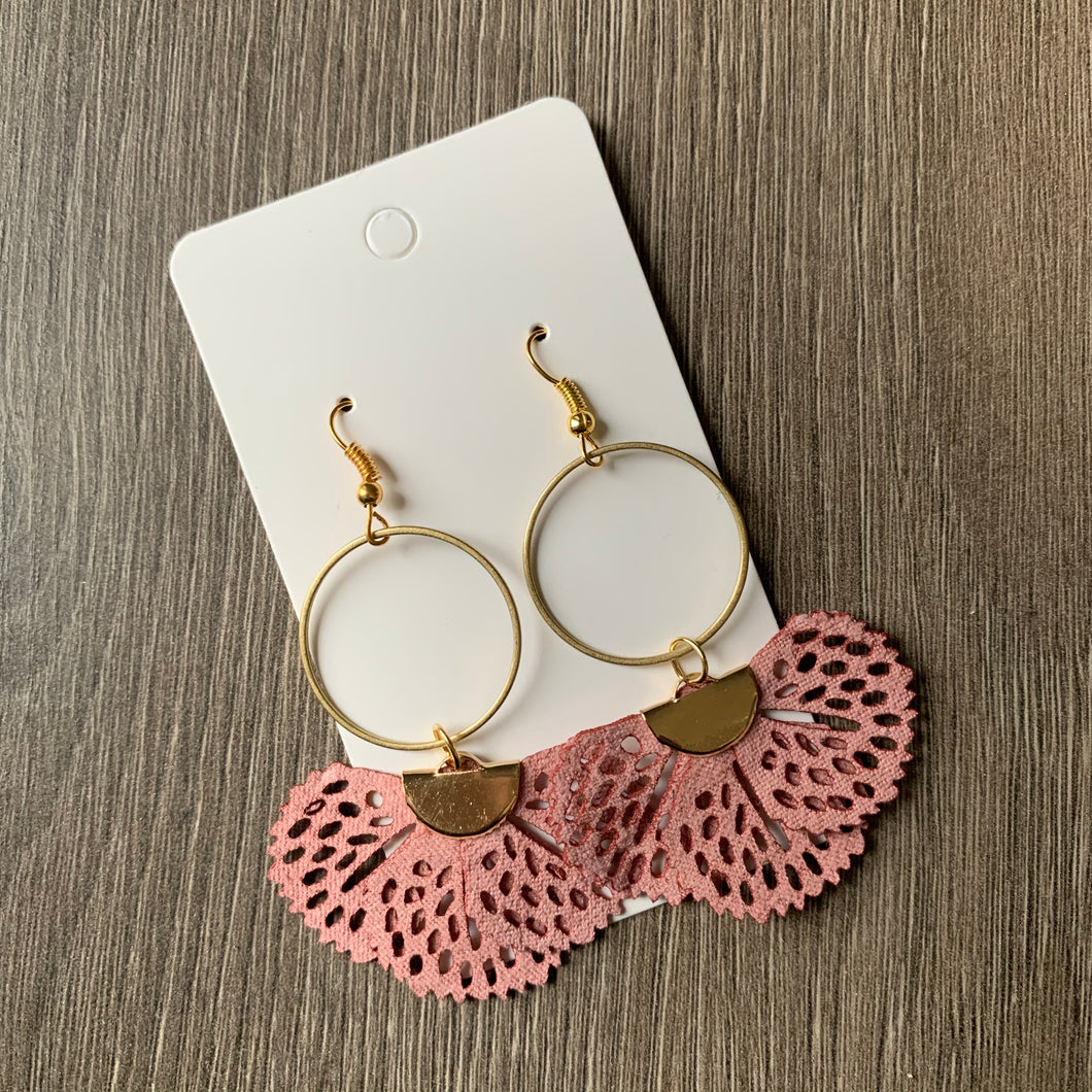 Pink Fabric and Brass Drop Earrings