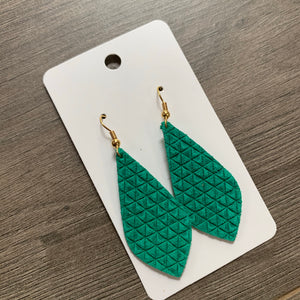 Small Kelly Green Textured Geo Leather Earrings