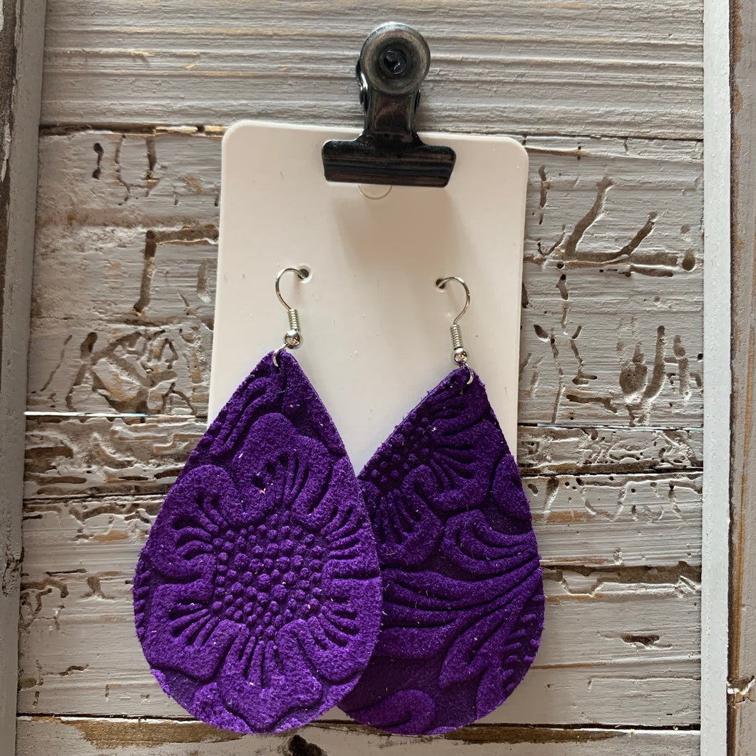 Purple Embossed Teardrop Leather Earrings