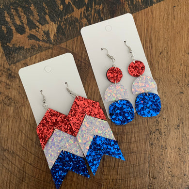 Bomb Pop Red White and Blue Sparkle Drop Leather Earrings