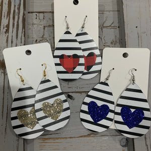 Black and White Stripes Heart Leather Teardrop Earrings