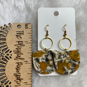 Yellow Tortoise Acrylic Drop Earrings