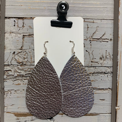 Silver Teardrop Leather Earrings
