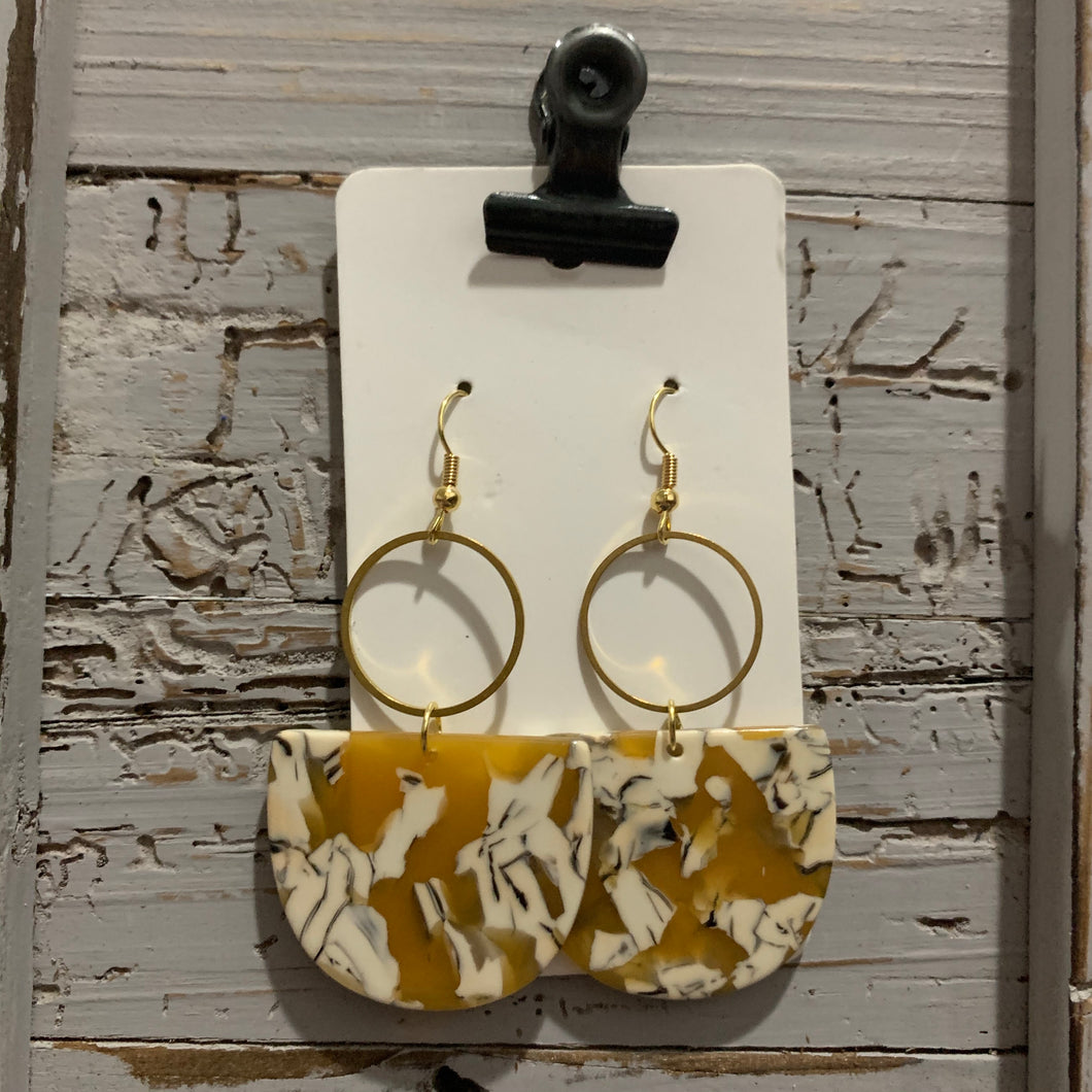 Yellow Mustard Acrylic and Brass Drop Earrings