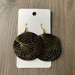 Gold and Black Circle Leather Earrings