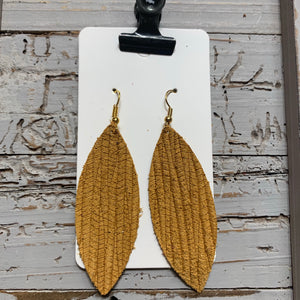 Mustard Embossed Skinny Leaf Leather Earrings