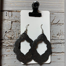 Dark Gray Sparkle Moroccan Leather Earrings