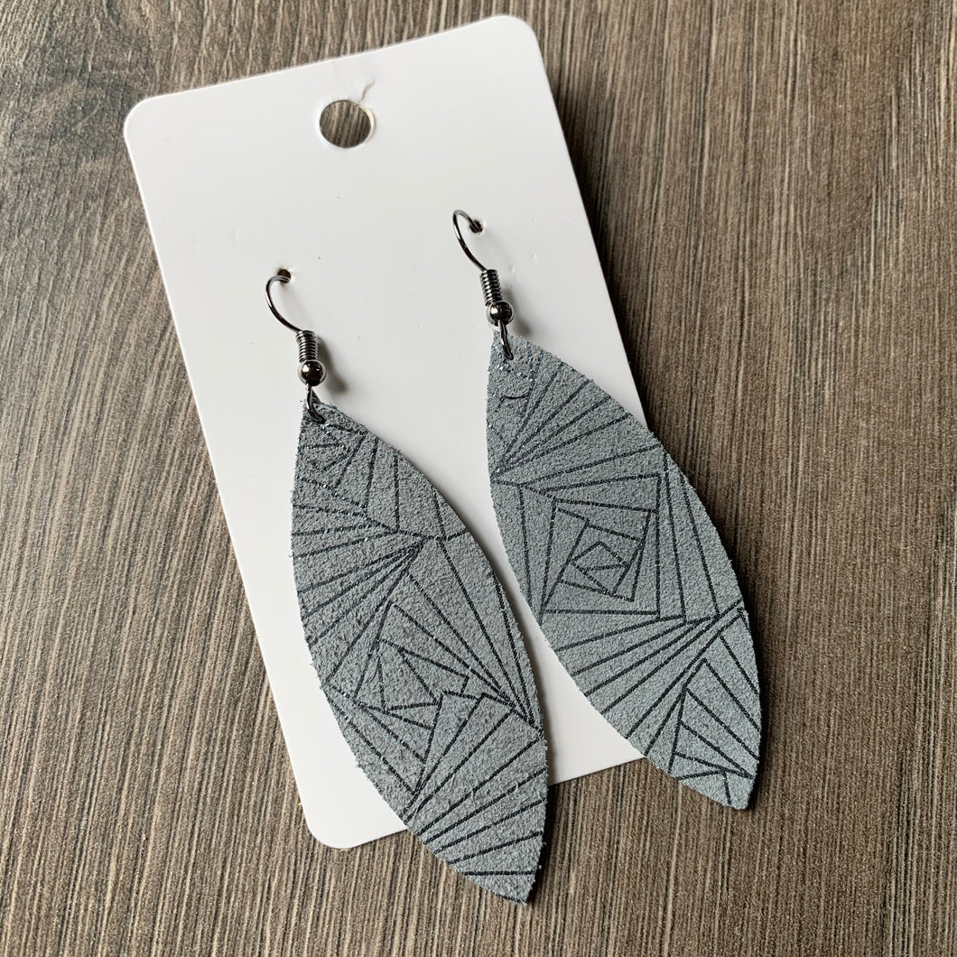 Silver and Pewter Skinny Leaf Leather Earrings
