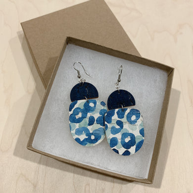 Navy and Blue Leopard Drops Cork Leather Earrings