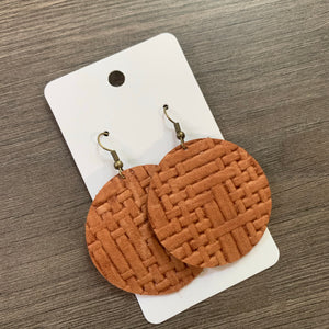 Light Brown Weave Circle Leather Earrings