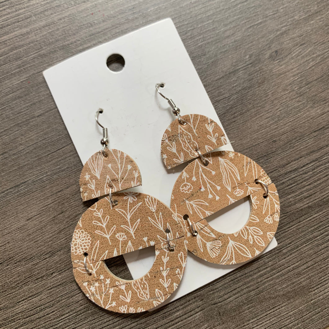 Neutral Circle Drops Leather Earrings