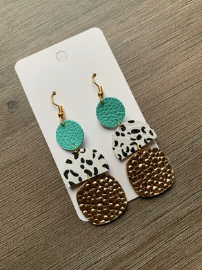 Mint and Gold Drop Leather Earrings