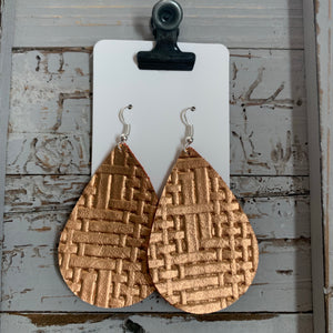 Rose Gold Weave Leather Teardrop Earrings