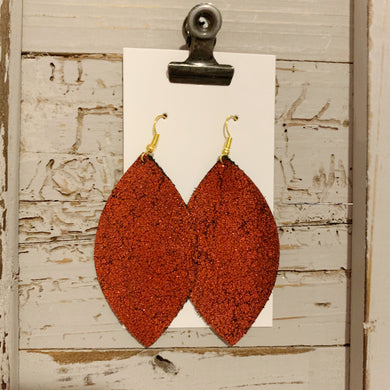 Red Shimmer Leaf Leather Earrings
