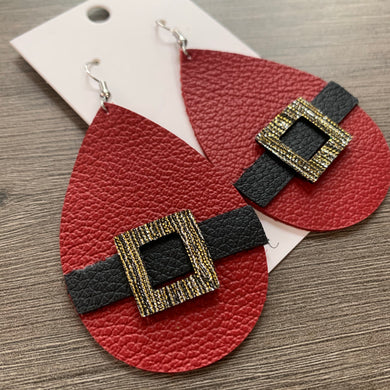 Christmas Santa Teardrop Leather Earrings
