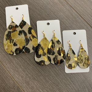 Hair On Metallic Animal Print Teardrop Leather Earrings