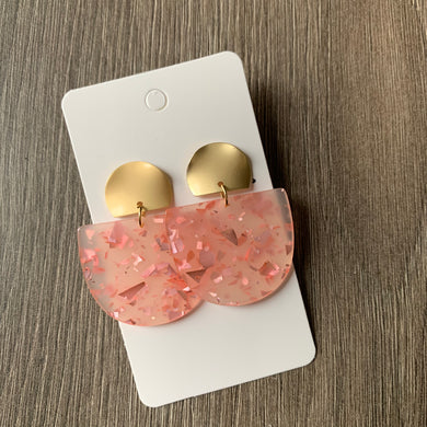 Pink and Gold Acrylic Post Earrings