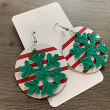 Christmas Striped Circle Drop Leather Earrings