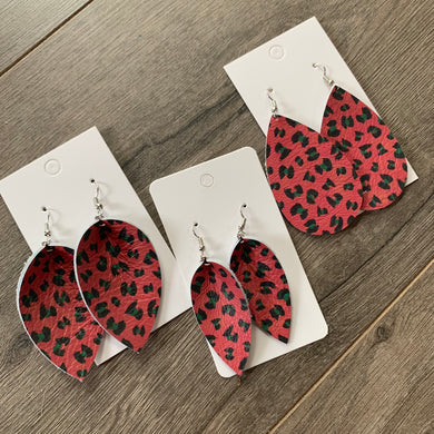 Christmas Leopard Leather Earrings