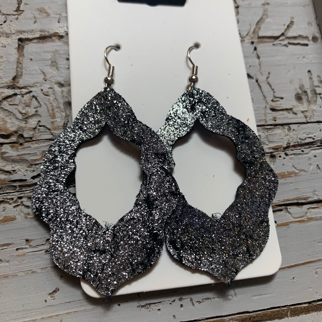 Black Shimmer Moroccan Leather Earrings