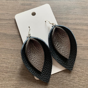 Black and Gunmetal Double Petal Leather Earrings