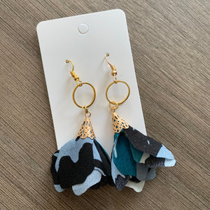 Multi Blue Navy Fabric Drop Earrings
