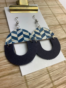Navy Small Leather and Cork Earrings