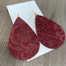 Maroon Embossed Teardrop Leather Earrings